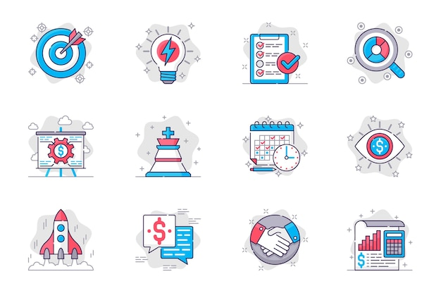 Zestaw ikon płaskiej linii koncepcji planowania biznesowego skuteczna strategia i rozwój startupów