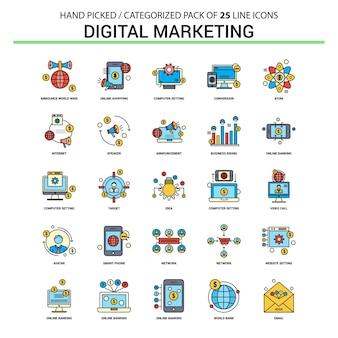Zestaw ikon płaskiej linii marketingu cyfrowego