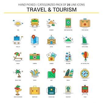 Zestaw ikon płaskiej linii podróży i turystyki
