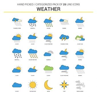 Zestaw ikon płaskiej linii pogody