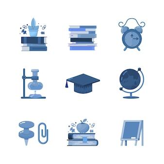 Zestaw ikon płaskiej szkoły