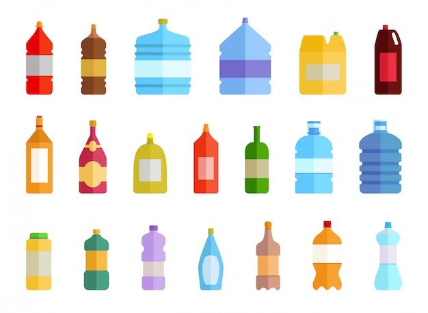 Zestaw ikon plastikowej butelki wody. kolorowa woda pitna pakowana w butelkę pet, nadające się do recyklingu i łatwe do przechowywania płyny