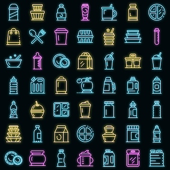 Zestaw ikon plastikowej zastawy stołowej. zarys zestaw plastikowych zastawy stołowej wektorowe ikony w kolorze neonowym na czarno
