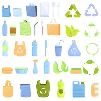 Zestaw ikon plastiku biodegradowalnego. kreskówka zestaw biodegradowalnych plastikowych ikon do projektowania stron internetowych