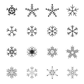 Zestaw ikon płatek śniegu