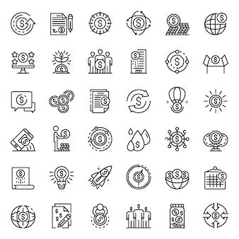 Zestaw ikon platformy crowdfundingowej, styl konturu