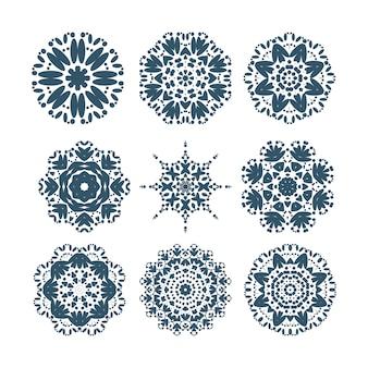 Zestaw ikon płatki śniegu