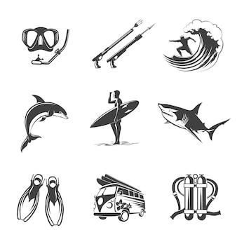Zestaw ikon plaży czarny. znaki lato, wakacje i turystyka. wypoczynek i polowanie, delfiny i rekiny, płetwy i nurkowanie, łowiectwo podwodne, surfing i nurkowanie.