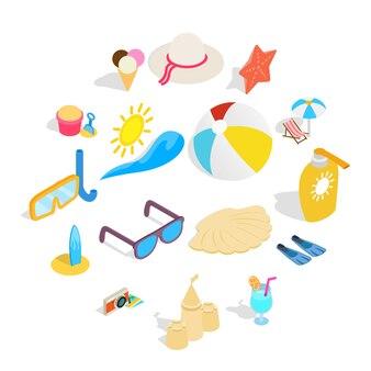 Zestaw ikon plaży, izometryczny styl 3d