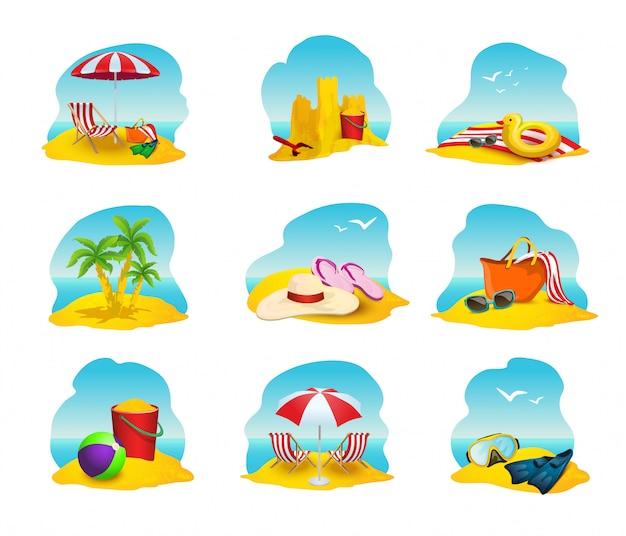 Zestaw ikon plaży