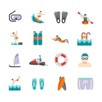 Zestaw ikon pływania