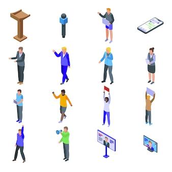 Zestaw ikon pobudzenia. izometryczny zestaw ikon wektorowych pobudzenia do projektowania stron internetowych na białym tle