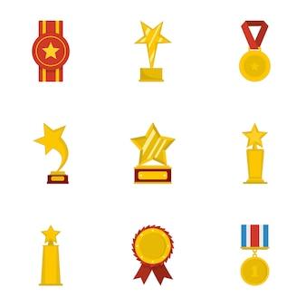 Zestaw ikon pochwały. kreskówka zestaw 9 ikon pochwały