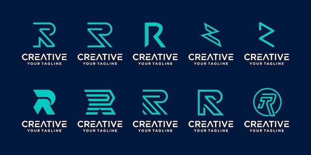 Zestaw ikon początkowej litery monogramu r rr logo szablon dla biznesu z branży mody cyfrowej