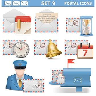Zestaw ikon pocztowych na białym tle