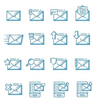 Zestaw ikon poczty w stylu konspektu
