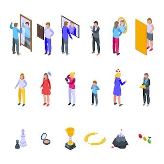 Zestaw ikon poczucia własnej wartości. izometryczny zestaw ikon poczucia własnej wartości do projektowania stron internetowych na białym tle