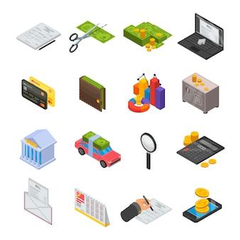 Zestaw ikon podatków. izometryczny zestaw podatków wektorowe ikony na projektowanie stron internetowych na białym tle