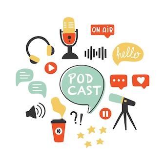 Zestaw ikon podcastów. ręcznie rysowane elementy na białym tle w modnym stylu.