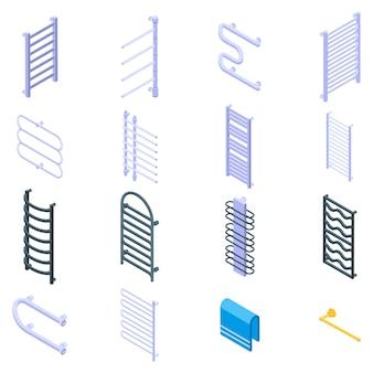 Zestaw ikon podgrzewany wieszak na ręczniki, styl izometryczny