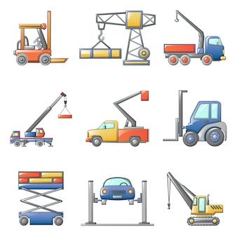Zestaw ikon podnoszenia maszyny