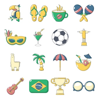 Zestaw ikon podróży brasil