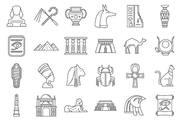 Zestaw ikon podróży egipt, styl konturu