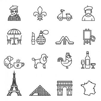 Zestaw ikon podróży francji. wektor styl linii.