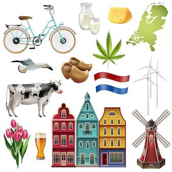 Zestaw ikon podróży holandia holandia