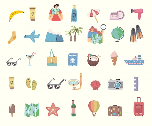 Zestaw ikon podróży i powiązanych symboli. płaskie ilustracje do karty podróży, plakatu, banera i innych.