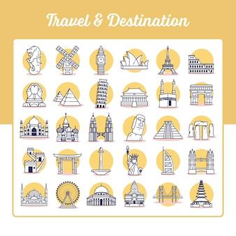 Zestaw ikon podróży i przeznaczenia ze stylem konspektu