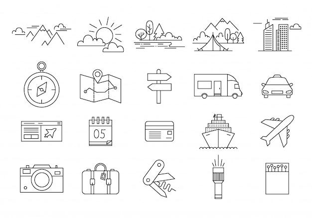 Zestaw ikon podróży i turystyki