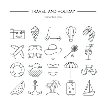 Zestaw ikon podróży i wakacji.