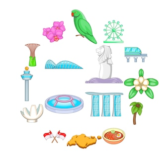 Zestaw ikon podróży singapuru, stylu cartoon