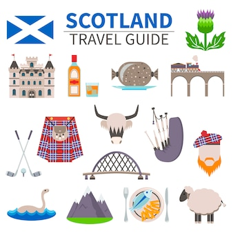 Zestaw ikon podróży szkocji
