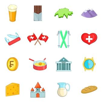 Zestaw ikon podróży szwajcaria