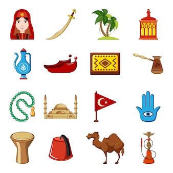 Zestaw ikon podróży turcji