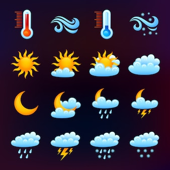 Zestaw ikon pogody czarny