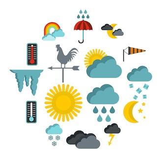 Zestaw ikon pogody, płaski