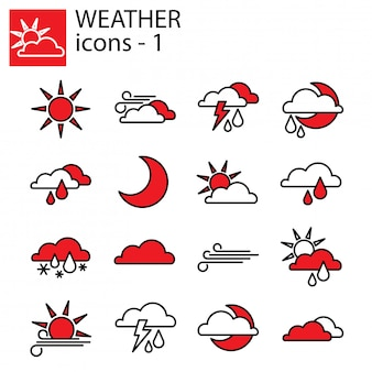 Zestaw ikon pogody. prognoza pogody
