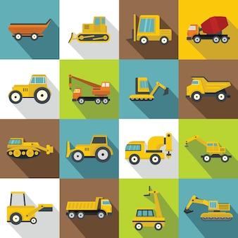 Zestaw ikon pojazdów budowlanych, płaski