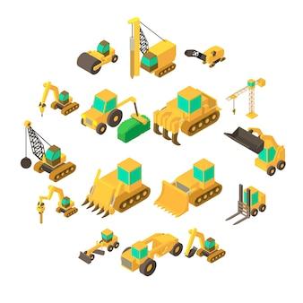 Zestaw ikon pojazdów budowlanych, styl izometryczny