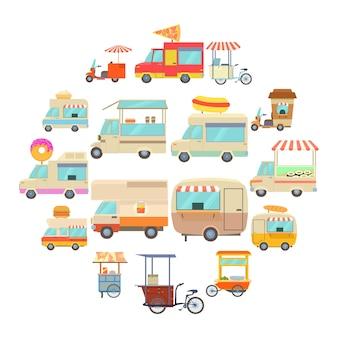 Zestaw ikon pojazdów ulicy żywności, stylu cartoon