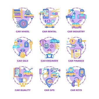 Zestaw ikon pojazdu samochodu