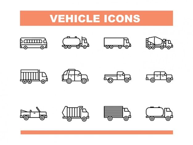 Zestaw ikon pojazdu w stylu linii wektorowej