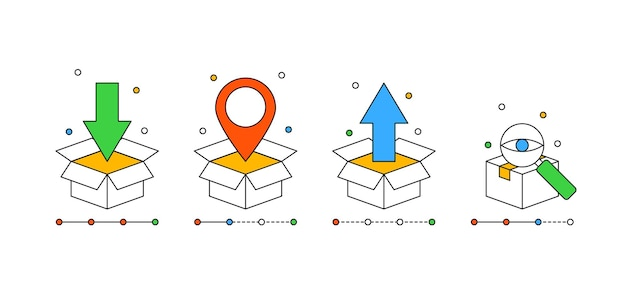 Zestaw ikon pola dla koncepcji śledzenia zamówienia w nowoczesnym stylu konspektu dla usługi dostawy online