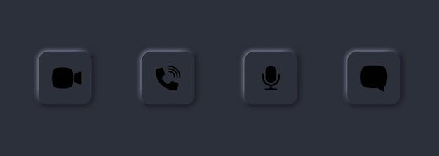 Zestaw ikon połączeń wideo. głośnik, mikrofon, czat wideo, ikony związane z kamerą. konferencja wideo.