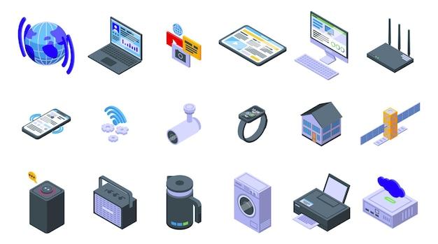 Zestaw ikon połączenia internetowego. izometryczny zestaw ikon wektorowych połączenia internetowego do projektowania stron internetowych na białym tle