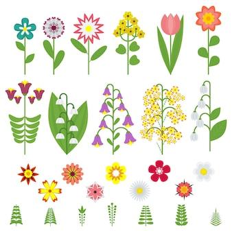 Zestaw ikon polne kwiaty. obiekty na białym tle.