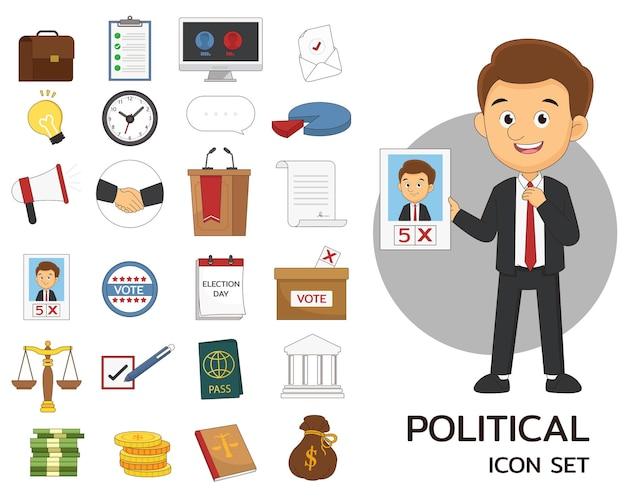 Zestaw ikon polotycznych płaskich koncepcji